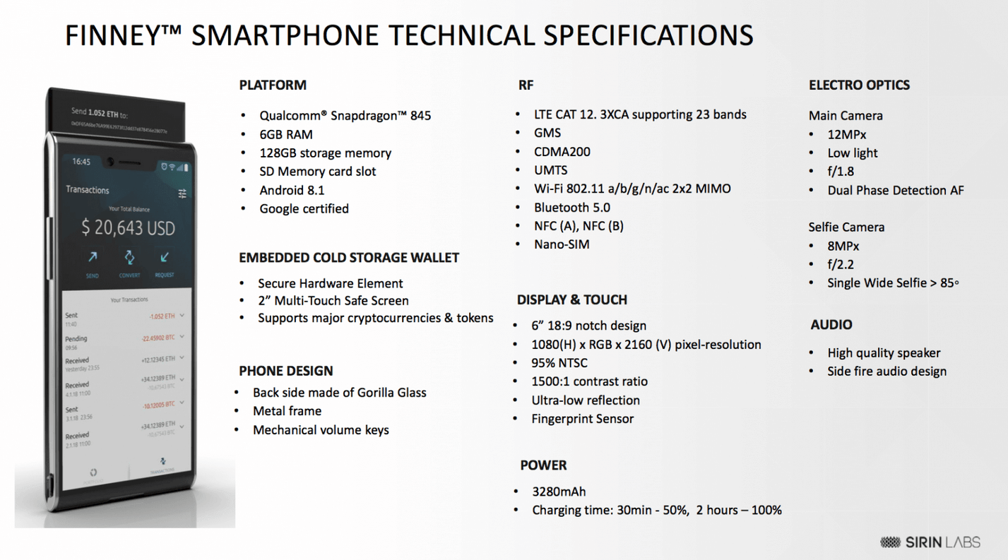 spécification smartphone sirin labs