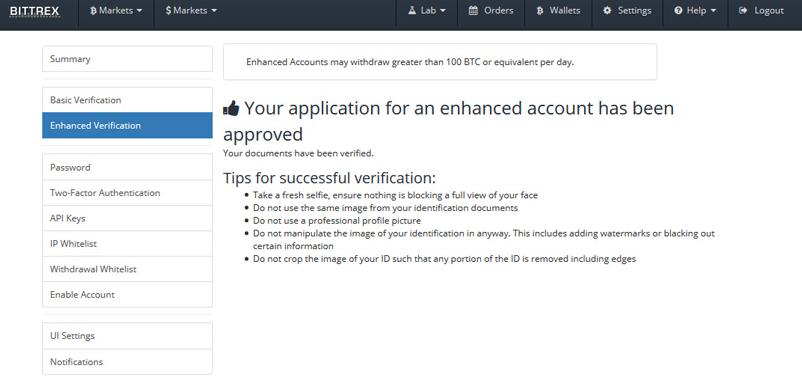 verification compte bittrex