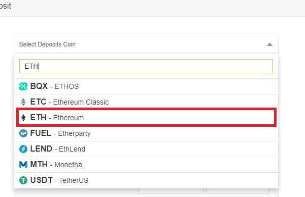 sélectionner ethereum sur binance